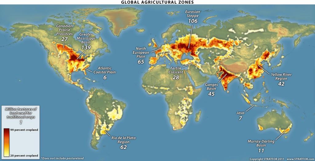 Les surfaces cultivables dans le monde