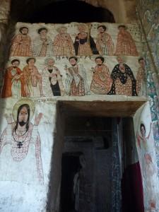 Des fresques à l'intérieur d'Abba Yohannis