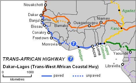 Les principales routes en Afrique de l'Ouest